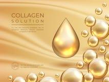 胶原背景 化妆皮肤护理广告横幅、秀丽精华和豪华面膜概念 传染媒介胶原血清 库存例证