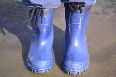 胶靴在池塘 库存照片