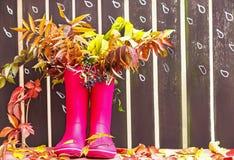胶靴(rainboots)和秋季叶子在与图画雨下落的木篱芭背景 免版税库存图片