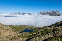紫胶Brévent - Brevent湖在夏慕尼勃朗峰-法国 库存图片
