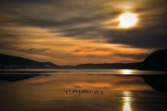 紫胶de Joux在日落的瑞士 库存图片