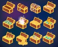 胸口传染媒介有金金钱财富的珍宝箱子或与金黄硬币和古老珠宝的木海盗胸口 皇族释放例证