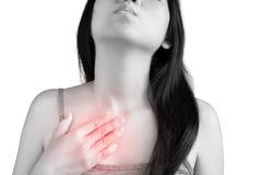 胸口痛或哮喘在白色背景隔绝的妇女 在白色背景的裁减路线 库存图片