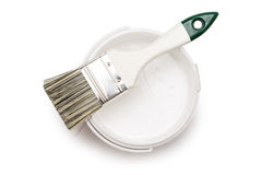 能与刷子的白色油漆 图库摄影