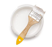 能与刷子的白色油漆 免版税图库摄影