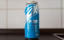 能主力零能量饮料被卖在阿尔迪超级市场 免版税库存图片