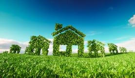 能承受的eco村庄概念 3d房子标志翻译  皇族释放例证