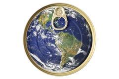 能概念地球食物锡 免版税库存照片