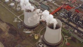 能源厂冷却塔鸟瞰图 股票录像