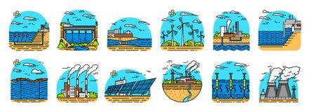 能源厂象 工厂厂房 核工厂,水力发电化工地热,太阳风的潮汐 向量例证