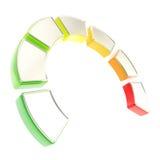 能源effieciency的七个级别作为被分割的指示符的 免版税库存图片