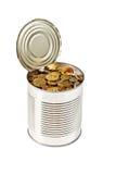 能硬币开放锡 库存图片