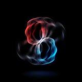 能量作用-抽象红色和蓝色烟圈子-霓虹发光盘旋背景 库存图片