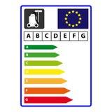 能量在白色背景隔绝的efficience标签 向量Illustartion 库存照片