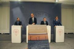 能量在绿色丹麦耕种 库存图片