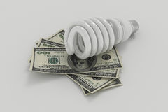 能量救球电灯泡、救球能量和金钱 库存图片