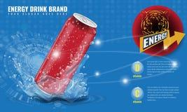 能量饮料金属能与水飞溅的广告布局3d模板的大模型和下落您的设计的 免版税库存图片