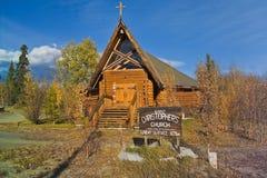 能1888-06日志教会, Haines连接点,育空,加拿大 免版税图库摄影