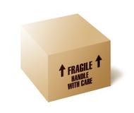 脆弱配件箱的纸板 免版税库存照片