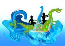 脊椎的水妖怪运载的孩子 免版税库存照片