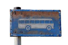 脏的公共汽车站符号查出在白色 库存图片