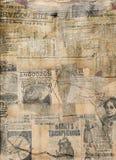 脏的古色古香的报纸纸张拼贴画 免版税库存照片