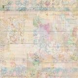 脏的古色古香的葡萄酒花卉墙纸拼贴画背景 免版税图库摄影