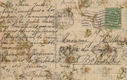 脏的古色古香的葡萄酒花卉明信片背景 库存图片