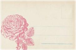 脏的古色古香的葡萄酒花卉明信片背景 图库摄影