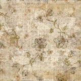 脏的古色古香的葡萄酒花卉背景 免版税库存照片