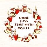 脏的手拉的圈子形状墨水咖啡去的,杯子,杯子, bea 向量例证