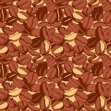 脏的手拉的墨水烤了咖啡豆无缝的样式 免版税图库摄影