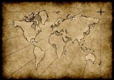 脏的映射旧世界 免版税库存图片