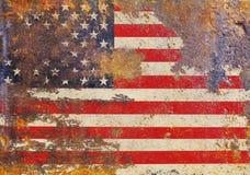 脏的粗砺美国旗子、的星条旗,困厄和 免版税库存照片