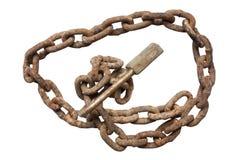 脏的老挂锁和圈子链子 库存图片