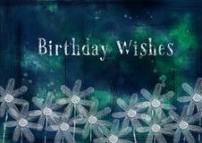 脏,与生日愿望的水彩雏菊 免版税图库摄影