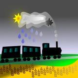 脑子、雨、火车和五谷 库存图片