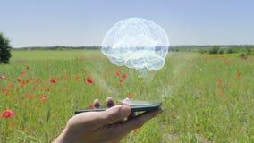 脑子全息图在智能手机的 股票视频