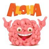 脑子动画片与喂标题的意思号字符 免版税库存图片