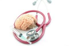 脑子听诊器 库存图片