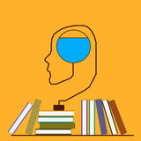脑子和书 图库摄影
