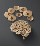 脑子和泡影讲话传染媒介纸板  免版税库存图片