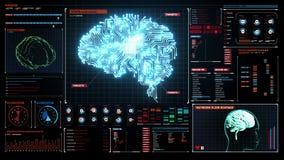 脑子在数字显示仪表板的被连接的CPU基片电路板,生长人工智能