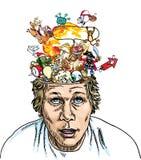 脑子展开 免版税库存照片