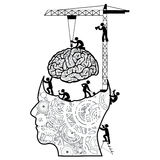 脑子建设中概念 库存照片