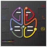 脑子形状连接时间安排事务Infographic 库存图片