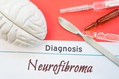 脑子形象、外科说谎在标题诊断纤维神经瘤附近的解剖刀、注射器和小瓶 诊断的概念照片,外科 图库摄影