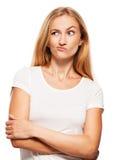 脑子怀疑表达式面部手指皱眉姿态一个指向的认为对妇女 免版税库存图片