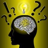 脑子想法解决问题 免版税库存图片