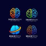 脑子技术商标设计 聪明的脑子商标设计 皇族释放例证